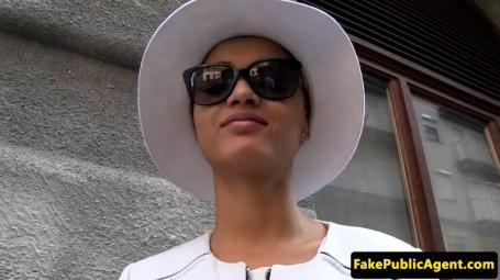 Pulled Ebony Beauty Doggystyled Fake Agent
