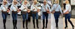Britney Spears Vaqueros Ajustados Con Botas Altas Dirigiéndose A Los Rec. Studio En Los Angeles